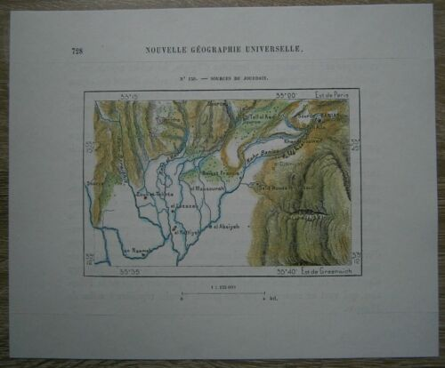 1884 Perron map SOURCES OF JORDAN RIVER, SLOPES OF MOUNT HERMON (#150)
