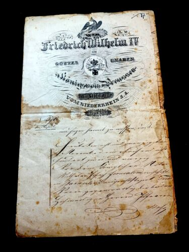 1845 FRIEDRICH WILHELM IV DOCUMENT - 8 pages signed and sealed in Jerusalem