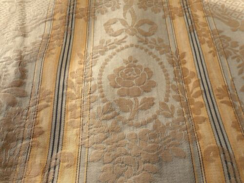 Antique French Roses Garland Stripe Silk Damask Fabric ~ Blue Green Gray Gold