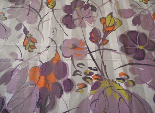 Vintage French Absract Floral Opaque Cotton Fabric ~ Purple Neon Orange Yellow