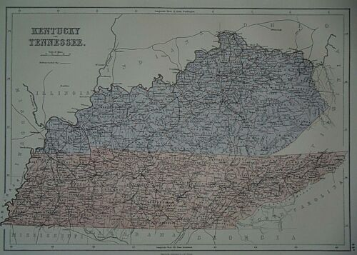 Rare Vintage 1884 Atlas Map ~ KENTUCKY - TENNESSEE ~Old & Authentic ~ Free S&H