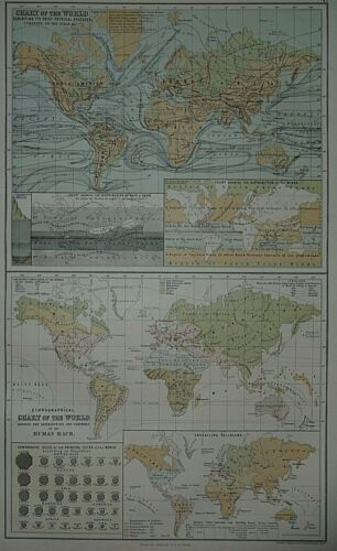 Rare Vintage 1884 Statistical World Map ~ WINDS - RAIN - SNOW - RELIGIONS