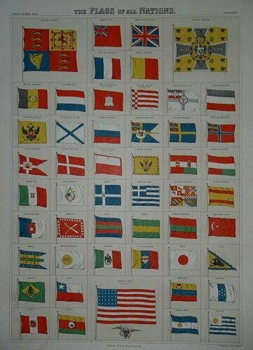 Rare Vintage 1884 A & C Black Atlas Illustration ~ FLAGS of NATIONS ~ Free S&H