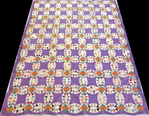 Antique 1930's  Hand Stitched Feed Sack Purple Pickle Dish Quilt Top 93x74
