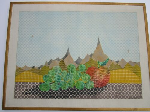MARIO PADOVAN PAINTING LARGE POINTILLISM POP ART COLORFUL STILL LIFE ABSTRACT