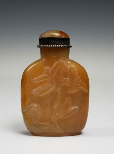 ANTIQUE CHINESE CARVED HARDSTONE SNUFF BOTTLE, YELLOW JADE/AGATE ETC...