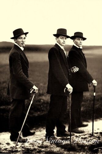 """1913 Three Men in Suits & Hats Carrying Canes Gay Interest 4""""x6"""" Reprint G44"""