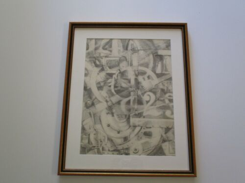 GERALD ROWLES 1970'S DRAWING CUBIST CUBISM ABSTRACT INDUSTRIAL MODERNISM  RARE