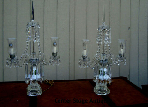 61186 Pair Candelabra Crystal Table Lamps