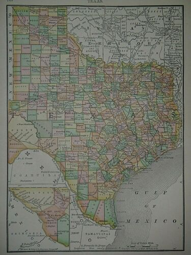 Vintage 1892 Atlas Map ~ TEXAS - AUSTIN ~ Old & Authentic ~ Free S&H