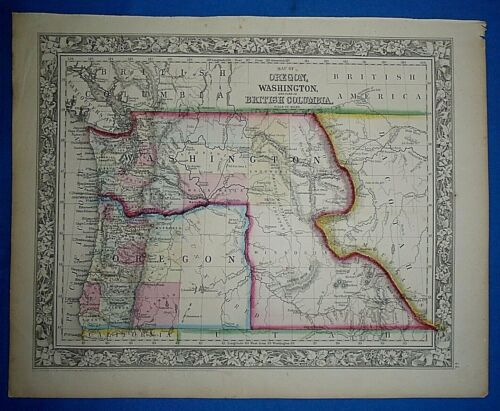 Antique 1863 S A Mitchell New General Atlas Map WASHINGTON TERRITORY Authentic