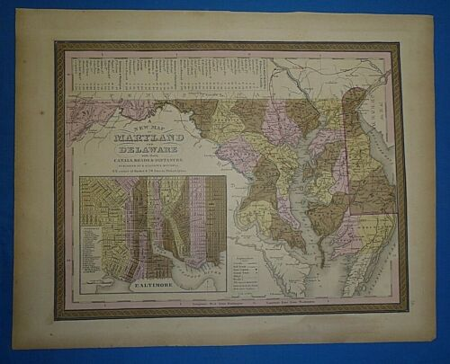 1849 S A Mitchell New Universal Atlas Map MARYLAND - DELAWARE Antique Authentic