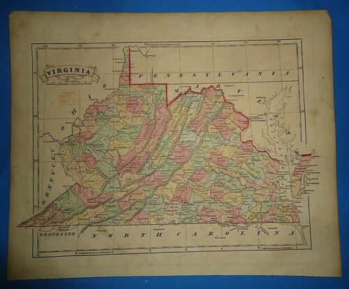 Antique 1856 Hand Colored VIRGINIA MAP Old Authentic Vintage Atlas Map