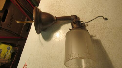 Antique Brass Wall Light & Frosted Shade