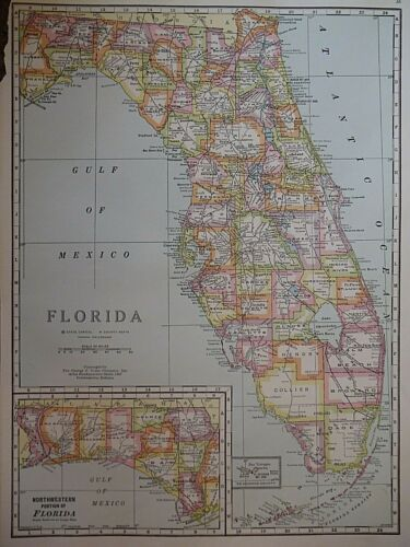 Vintage 1950 Atlas Map ~ FLORIDA - MIAMI ~ Old & Authentic ~ Free S&H