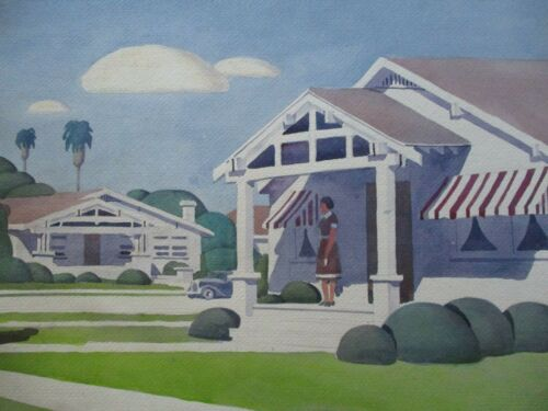 KERMIT EPPERSON B.1913 PAINTING AMERICAN REGIONALISM WPA STYLE HISTORIC HOME
