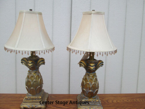 58062 PAIR OF PINEAPPLE TABLE LAMPS WITH SHADES