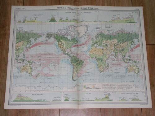1922 MAP OF WORLD VEGETATION PLANTS OCEAN CURRENTS AMERICA ASIA EUROPE AFRICA