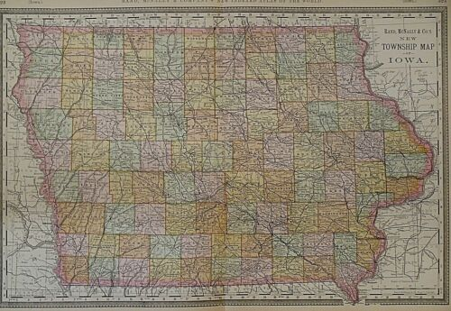 Vintage 1888 Railroad & Township Map ~ IOWA ~ Old Authentic ~ Free S&H