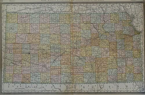 Vintage 1888 Railroad & County Map ~ KANSAS ~ Old & Authentic ~ Free S&H