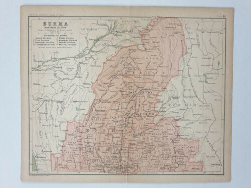 1909 BURMA NORTHERN SECTION MAP - Imperial Gazetteer of India 10.25in x 8.50in
