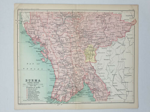1909 BURMA CENTRAL SECTION MAP - Imperial Gazetteer of India 10.25in x 8.50in