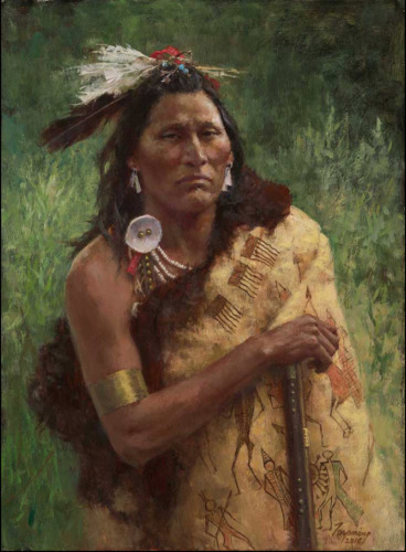 """Howard TERPNING """" Three Trophies """" Limited Edition Canvas art Native Indian"""