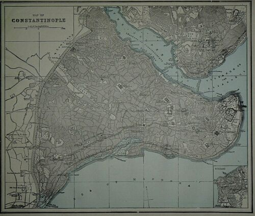 Vintage 1893 City Map ~ CONSTANTINOPLE, TURKEY ~ Old & Authentic ~ Free S&H