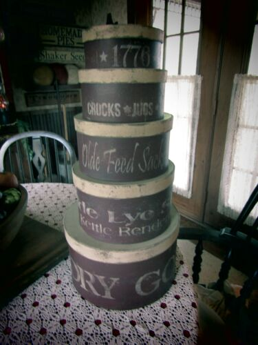 PRIMITIVE STACK OF ROUND PANTRY BOXES STENCILED - DARK RED  & CREAM