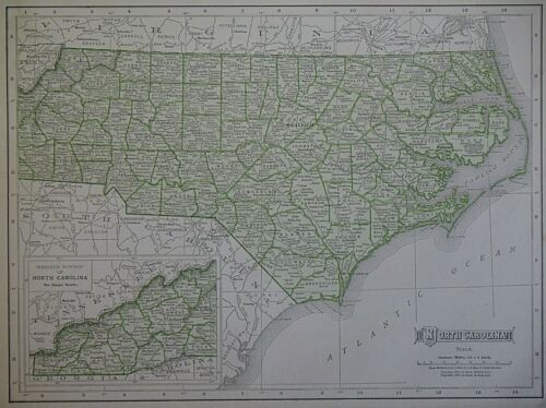 Vintage 1911 Railroad & County Map ~ NORTH CAROLINA ~ Old Authentic ~ Free S&H