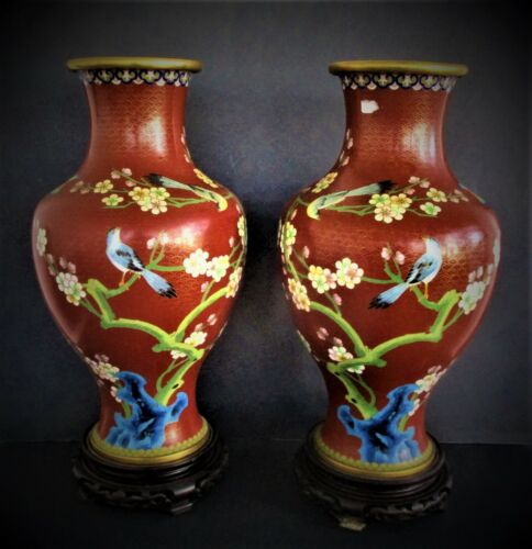 Pair of  Large Chinese Cloisonne Vases on Wood Stands