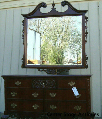 60086 Solid Mahogany Chippendale Dresser Chest with Mirror