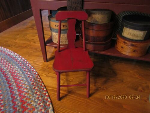 EARLY VINTAGE WOOD CHILD'S CHAIR - ORIGINAL RED PAINT