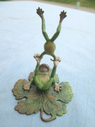 Antique Austrian Vienna Cold Painted Bronze Frog Lily Pad Handstand Cute No Res