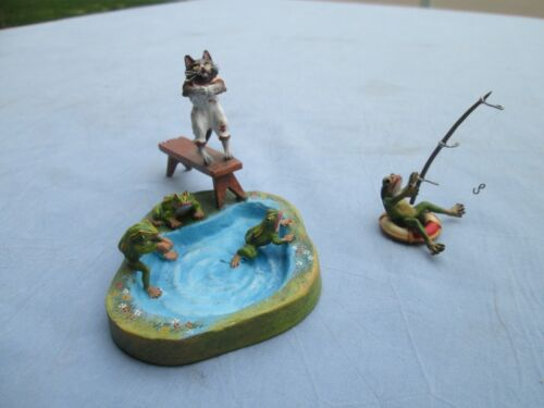 Antique Austrian Vienna Cold Painted Bronze Frogs Swimming & Fishing No Reserve