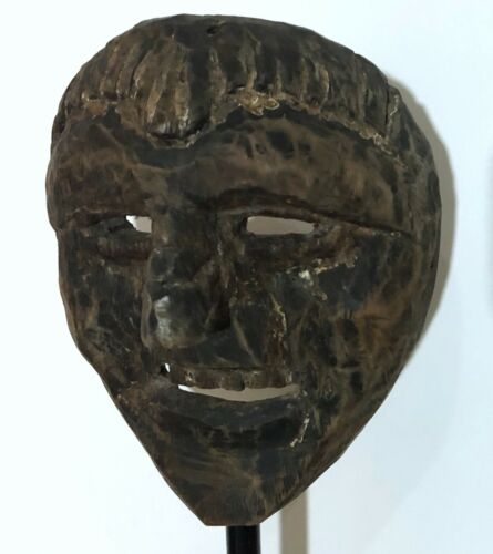 RARE 19th CENTURY TIBET ETHNOGRAPHIC ANCESTOR CARVED WOOD MASK (#3) - ON STAND