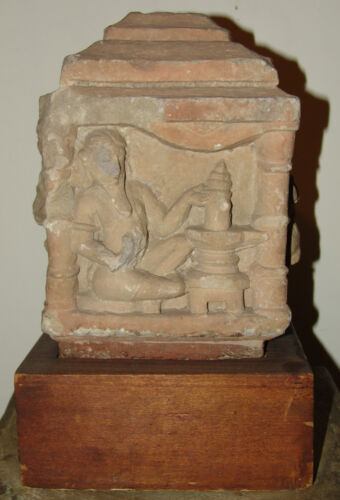 AUTHENTIC AND RARE 12th CENTURY INDIAN SANDSTONE BLOCK TEMPLE FRAGMENT