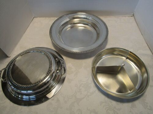 Vtg The Sheffield Co Silver Plate 3 Piece round serving bowl lidded with insert