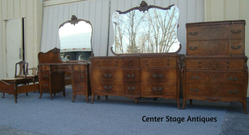 61702 French Bedroom BED Dresser w/ Mirror Nightstand Vanity  High Chest