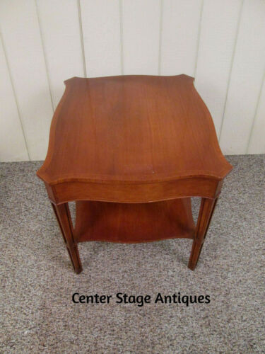 54004  BANDED MAHOGANY INLAID 2 TIER SIDE TABLE WITH DRAWER