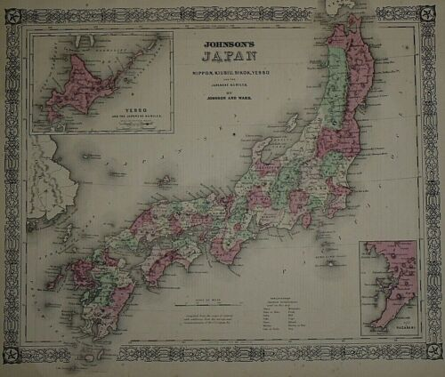 Vintage 1866 Atlas Map ~ JAPAN ~ Old & Authentic ~ Free S&H