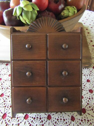 ANTIQUE PRIMITIVE 6 DRAWER SPICE APOTHECARY WALL CABINET WITH FAN ON TOP