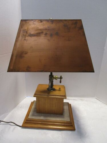 """Vtg Wood & Travertine base table lamp with Arts & Crafts Copper Shade 23½""""T"""