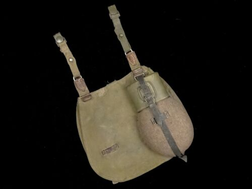 German Military Canteen Dated 1943 with Bread Bag World War 2