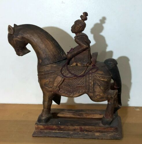 UNIQUE & OLD SOUTHEAST ASIAN BUDDHIST WOOD STATUE OF MALE FIGURE RIDING A HORSE