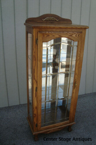 61016 Oak Leaded Glass Lighted Curio China Cabinet CREATIONS Furniture