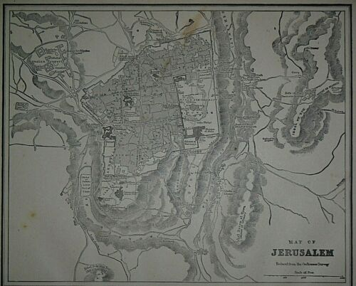 Vintage 1893 Atlas Map ~ JERUSALEM ~ Old & Original ~ Free S&H