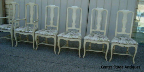 59872  Set 6 Romantic Shabby Factory Painted Dining Chairs