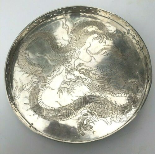 Antique Chinese Fine Silver WANG HING & Co. Dragon Round Footed Gallery Tray