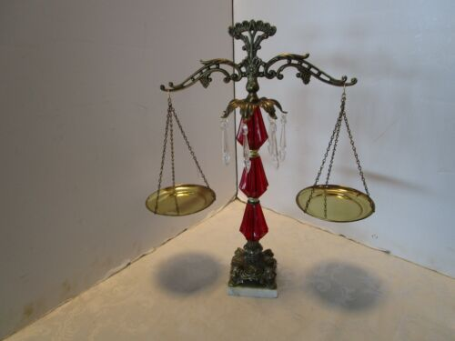 Vintage Brass tone Scale of Justice Lucite Acrylic Prisms marble base 1960's